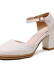 Feminino-Sandálias-Sapatos clube-Salto Grosso-Branco Preto Amarelo-Couro Ecológico-Escritório & Trabalho Social Festas & Noite