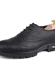 Masculino-Oxfords-Creepers Conforto Gladiador sapatos Bullock Sapatos formais-Salto Baixo-Preto Cinzento-Couro-Casamento Escritório &