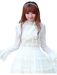 Lolita Classica e Tradizionale Ispirazione Vintage Con lacci Cosplay Vestiti Lolita Di pizzo Maniche lunghe Al ginocchio Maglietta Gonna