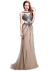 Formal Evening Dress Sheath / Column Jewel Sweep / Brush Train Tulle with Beading