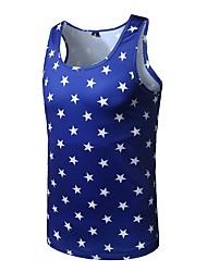 Men's Casual/Daily Active All Seasons Tank Top,Galaxy Round Neck Sleeveless Polyester Medium