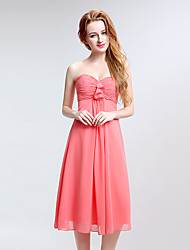 Tea-length Chiffon Bridesmaid Dress - Sheath / Column Sweetheart with Side Draping