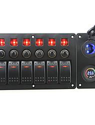 iztoss röd lysdiod DC24V 6 gäng on-off rocker växla böjd panel ledde makt laddare 24V voltmeter uttag och strömbrytare med etikett