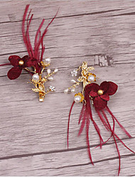 סגסוגת דמוי פנינה בד כיסוי ראש-חתונה אירוע מיוחד קז'ואל קליפס לשיער 2 חלקים