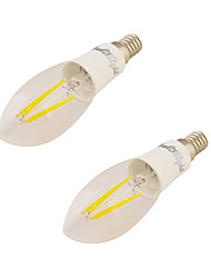 YouOKLight 2PCS E14 4W 350LM AC85-265V 4*COB LED Warm White 3000K Edison Candle Bulbs LED Filament Light