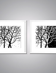 Framed Canvas Prints Black and White Abstract Tree Modern Canvas Artworks with White Frame for Livingroom Decoration