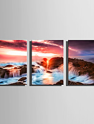 E-HOME Stretched Canvas Art Coastal Rock Landscape Decoration Painting Set Of 3