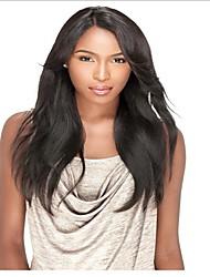צפיפות 130% ישר טבעי שיער אדם בתול ברזילאי תחרה מלא פאות לנשים