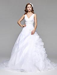 LAN TING BRIDE 볼 드레스 웨딩 드레스 어깨 노출 스타일 바닥 길이 V-넥 오간자 튤 와 비즈 장식주름