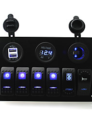 IZTOSS DC 12/24V 6 gang blue rocker switches panel with horn and stereo swith and 3.1A Dual USB voltmeter led power Socket pre-wired and wiring kits