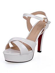 Sandals Spring Summer Fall Club Shoes PU Wedding Office & Career Dress Stiletto Heel Rhinestone Buckle Blue Pink White Gray