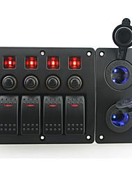 iztoss röd ledde DC12 / 24v 4 gäng on-off rocker växla krökta panelen och kretsbrytaren med etikett klistermärken och två blå ledde