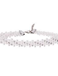 Dame Kort halskæde Imiteret Perle Perle Blonde Enkelt design Unikt design Imiteret Perle Mode Hvid Smykker ForBryllup Fest Fødselsdag