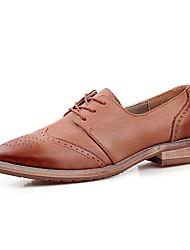 Oxfordské-Kůže-Bullock boty-Dámské--Kancelář Šaty Běžné-Kačenka Block Heel