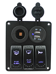 iztoss blå ledde tre gäng 5pin vippströmbrytare panel med eluttag och 5v 3.1a (2.1a1a) Dual USB kabelsatser DC12V / 24V för marin båt bil
