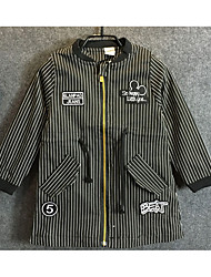 Boys' Casual/Daily Striped Trench Coat,Cotton Spring Fall Half Sleeve