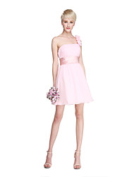 LAN TING BRIDE Curto/Mini Mula Manca Vestido de Madrinha - Elegante Mini Eu Sem Mangas Chiffon