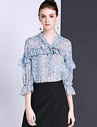 Dames Schattig Zomer Overhemd,Uitgaan Casual/Dagelijks Bloemen V-hals Driekwart mouw Polyester Ondoorzichtig Dun