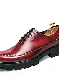 Masculino-Oxfords-Conforto-Rasteiro-Preto Vermelho Castanho Escuro-Couro-Casamento Casual Festas & Noite