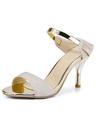 Sandals Spring Summer Fall Club Shoes PU Wedding Office & Career Dress Stiletto Heel Split Joint Pink White Beige