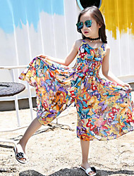 Girls' Casual/Daily Floral Overall & Jumpsuit-Linen Polyester Summer