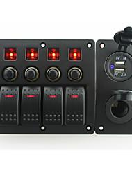 iztoss röd ledde DC12 / 24v 4 gäng on-off rocker växla krökta panelen och kretsbrytaren med etikett klistermärken och eluttaget och 3.1a