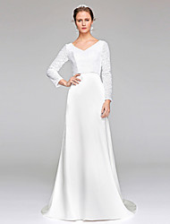 LAN TING BRIDE Sheath / Column Wedding Dress Sparkle & Shine Sweep / Brush Train V-neck Lace Sequined with Sequin
