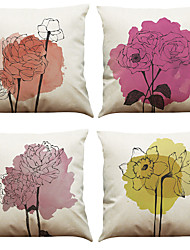 Set of 4 Rose Pattern Pattern  Linen Pillowcase Sofa Home Decor Cushion Cover