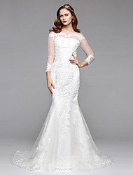 LAN TING BRIDE Trumpet / Mermaid Wedding Dress Simply Sublime Floor-length Bateau Lace Tulle with Lace