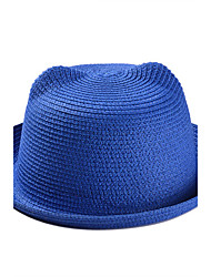 Summer Lady Lovely Cat Ear Candy Color Woven Straw Bear Shade Beach Hat