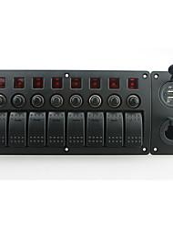 iztoss röd ledde DC12 / 24v 8 gäng on-off rocker växla krökta panelen effekt laddare och 3.1a USB uttag och strömbrytare med etikett