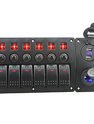 iztoss röd ledde DC12 / 24v 6 gäng on-off rocker växla krökta panelen ledde makt laddare 4.2a usb voltmeter uttag och kretsbrytare med