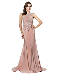 Formal Evening Dress Trumpet / Mermaid Jewel Court Train Jersey with Beading