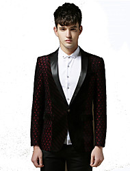 Men's Going out Party/Club Vintage Simple Street chic Spring Fall BlazerSolid Print Square Neck Long Sleeve RegularCotton