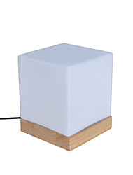 Modern Glass Desk Lamp Glassshade And Woodbase On/Off Switch Type