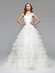 LAN TING BRIDE 볼 드레스 웨딩 드레스 어깨 노출 스타일 바닥 길이 원 숄더 새틴 튤 와 비즈 꽃장식 옆면 드레이프트