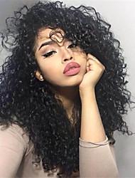 10-26 pulgadas de pelo humano virginal negro natural peluca del frente del cordón del pelo peluca pequeña del pelo rizado con el pelo del