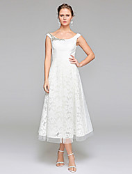 LAN TING BRIDE A-라인 웨딩 드레스 - 피로연 드레스 오픈백 종아리 길이 스쿱 레이스 와 비즈 드레이프트