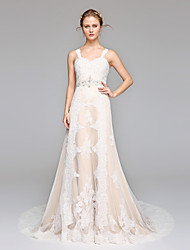 LAN TING BRIDE A-라인 웨딩 드레스 오픈백 스윕 / 브러쉬 트레인 스트랩 레이스 와 비즈 드레이프트