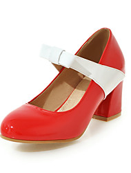 Heels Spring Summer Fall Winter Comfort PU Office & Career Dress Casual Chunky Heel Bowknot Split Joint Black Red