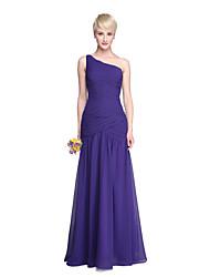 LAN TING BRIDE Na zem Jedno rameno Šaty pro družičky - Otevřená záda Elegantní Bez rukávů Šifón
