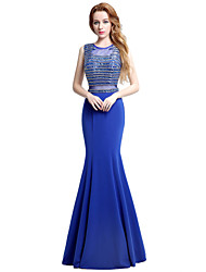 Formal Evening Dress Trumpet / Mermaid Jewel Floor-length Jersey with Beading