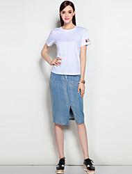 Damen Solide Einfach Arbeit Sport T-shirt,Rundhalsausschnitt Frühling Sommer Kurzarm Baumwolle Mittel