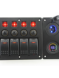 IZTOSS red led DC12V 4 Gang on-off rocker switch curved panel and circuit breaker with label stickers and blue led cigarettel power socket and DC12V v
