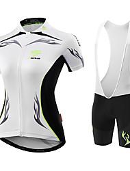 חולצת ג'רסי ומכנס קצר לרכיבה בגדי ריקוד נשים שרוול קצר אופניים ג'רזי שורטים (מכנסיים קצרים) מרופדים גרביונים ביבעיצוב אנטומי חדירות ללחות