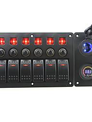 iztoss röd lysdiod 12V 6 gäng on-off rocker växla böjd panel ledde makt laddare 12v voltmeter uttag och strömbrytare med etikett