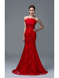 Formal Evening Dress Fit & Flare Strapless Sweep / Brush Train Lace with Beading Sequins
