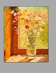 מצויר ביד טבע דומם פרחוני/בוטני מאונך,מודרני פסטורלי פנל אחד בד ציור שמן צבוע-Hang For קישוט הבית