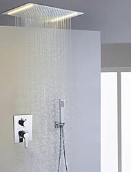 Zeitgenössisch Duschsystem LED Regendusche Handdusche inklusive with  Keramisches Ventil Zwei Griffe Drei Löcher for  Chrom ,