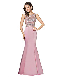 Formal Evening Dress Trumpet / Mermaid Jewel Floor-length Satin with Beading